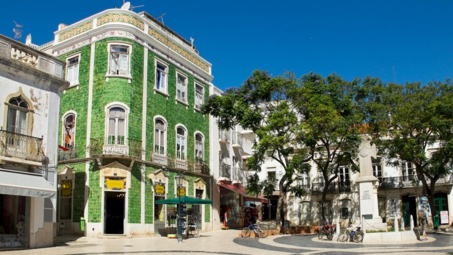 Iconic green tiled building in the center of Lagos, Portugal